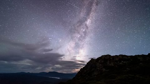 BEAUTIFUL DAWN TIME LAPSE SHOWS MILKY WAY RISING IN THE EAST IN TASMANIA Image