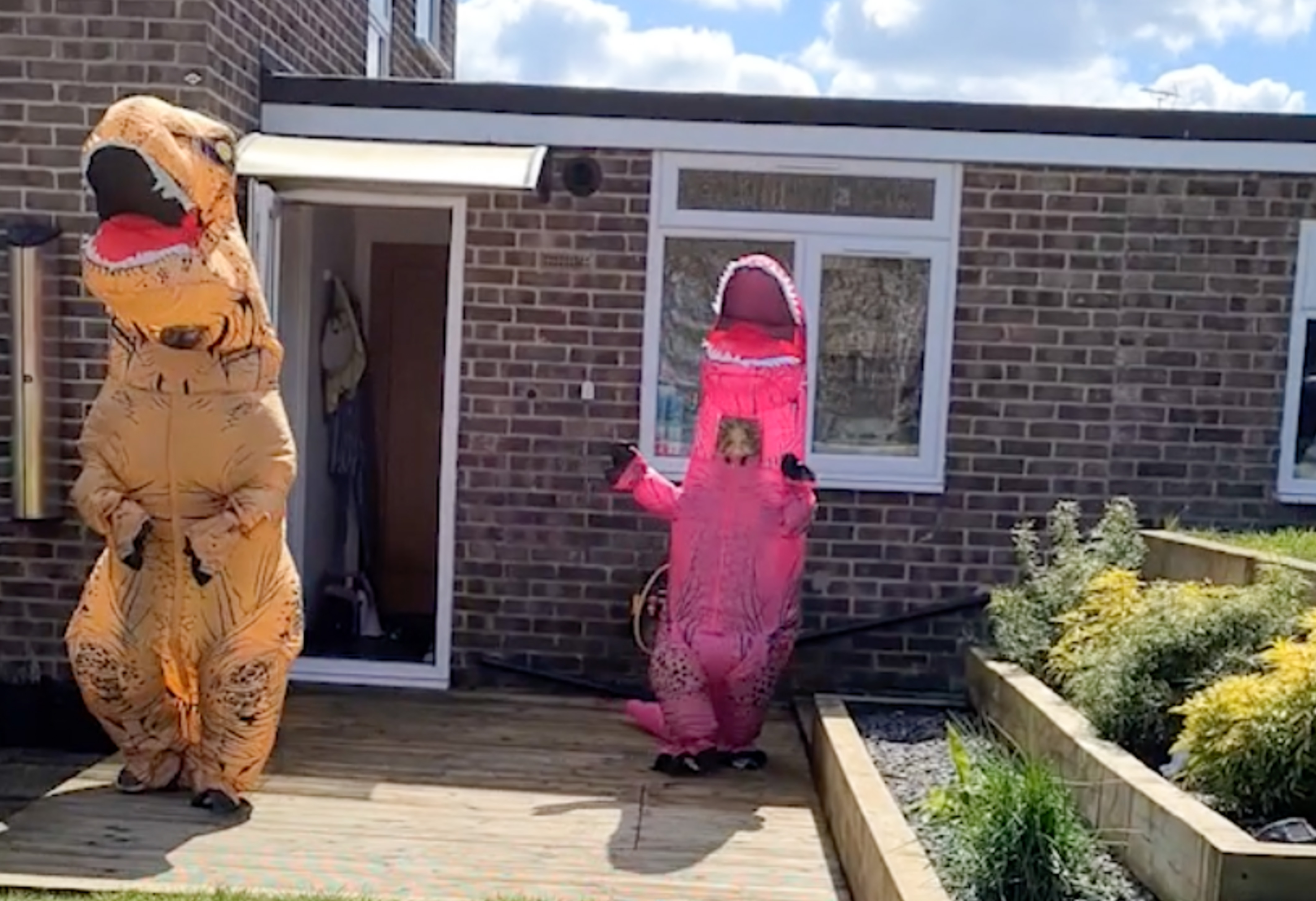 HILARIOUS MOMENT MUM AND DAUGHTER DRESS IN DINOSAUR SUITS TO HUG GRANDPARENTS AFTER SHIELDING FOR 12 MONTHS Image