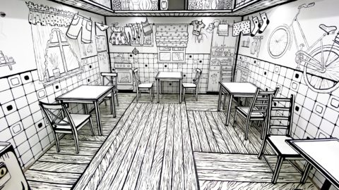 INCREDIBLE FEAT OF DESIGN MAKES CAFE APPEAR TO BE A COLOURING BOOK Image