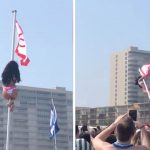 Heart Stopping Moment Girl On Spring Break Falls Off Pole On Beach