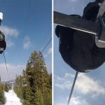 Skier Takes Unusual Route Up Snowy Mountain By Climbing Between Chair Lifts